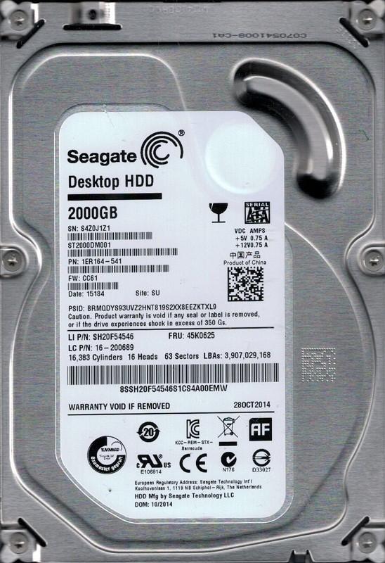 ST2000DM001 P/N: 1ER164-541 F/W: CC61 SU S4Z Seagate 2TB