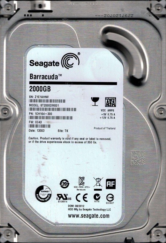 ST2000DM001 F/W: CC43 P/N: 1CH164-300 TK Z1E Seagate Barracuda 2TB