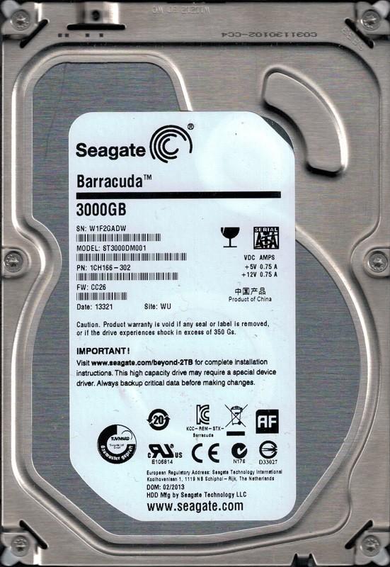 ST3000DM001 Seagate P/N: 1CH166-302 F/W: CC26 3TB WU W1F