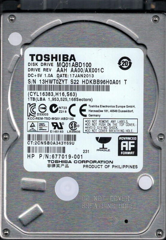 Toshiba MQ01ABD100 1TB AAH AA00/AX001C Philippines Laptop HDD