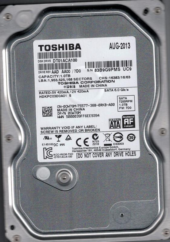 DT01ACA100  AAD AA00/7D0 China Toshiba 1TB