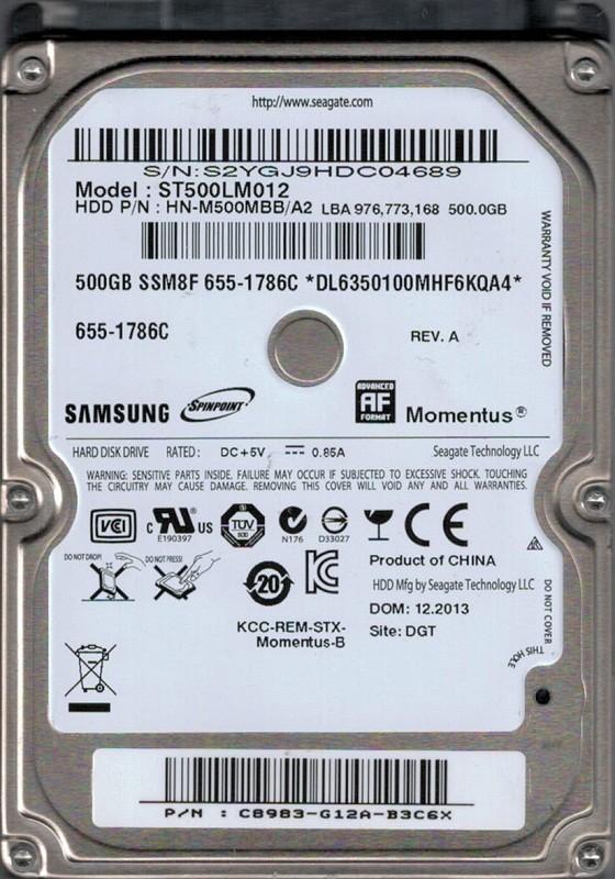 Samsung ST500LM012 HN-M500MBB/A2 500GB MAC 655-1786C Seagate
