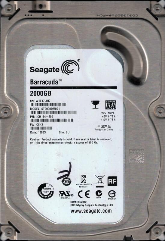 Seagate ST2000DM001 P/N: 1CH164-300 F/W: CC43 SU W1E 2TB