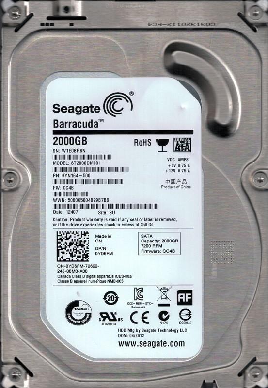 Seagate ST2000DM001 P/N: 9YN164-500 F/W: CC4B 2TB SU W1E