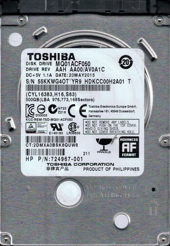 MQ01ACF050 AAH AA00/AV0A1C PHILIPPINES Toshiba 500GB