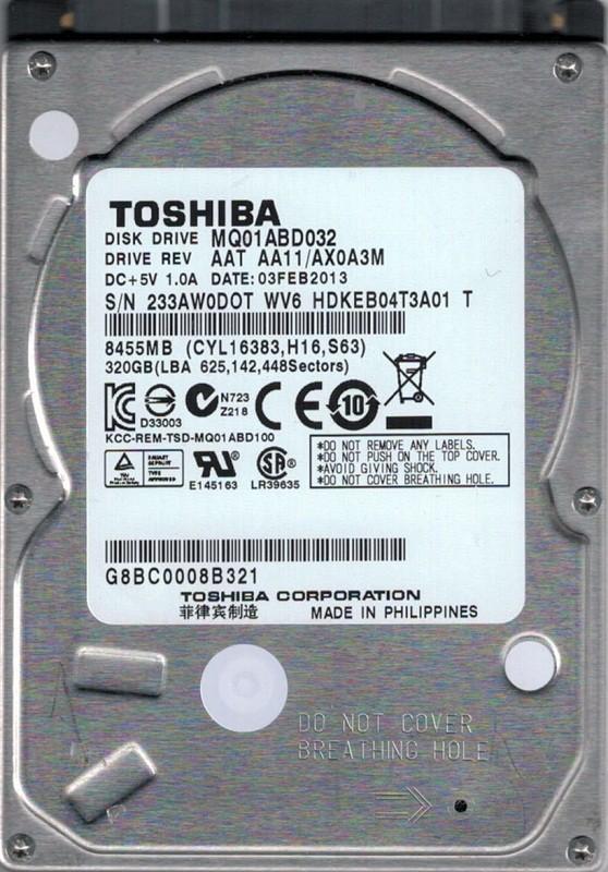 MQ01ABD032 AAT AA11/AX0A3M Philippines Toshiba 320GB