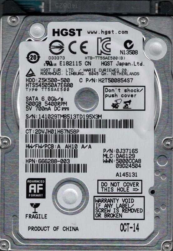 HTS545050A7E680 P/N: 0J37165 MLC: DA6129 China HGST 500GB