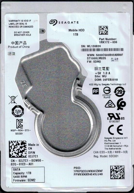 ST1000LM035 P/N: 1RK172-036 F/W: SDM2 WU WL1 Seagate 1TB Mobile HDD