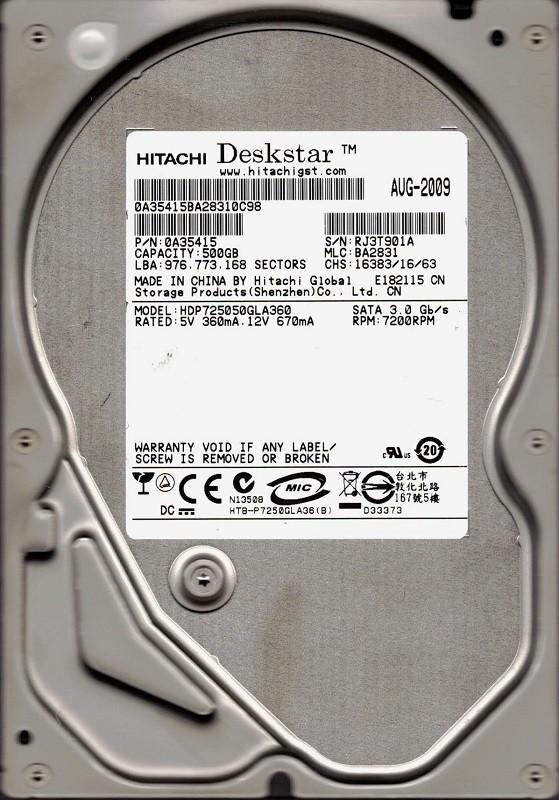 HDP725050GLA360 Hitachi MLC: BA2831 P/N: 0A35415 500GB