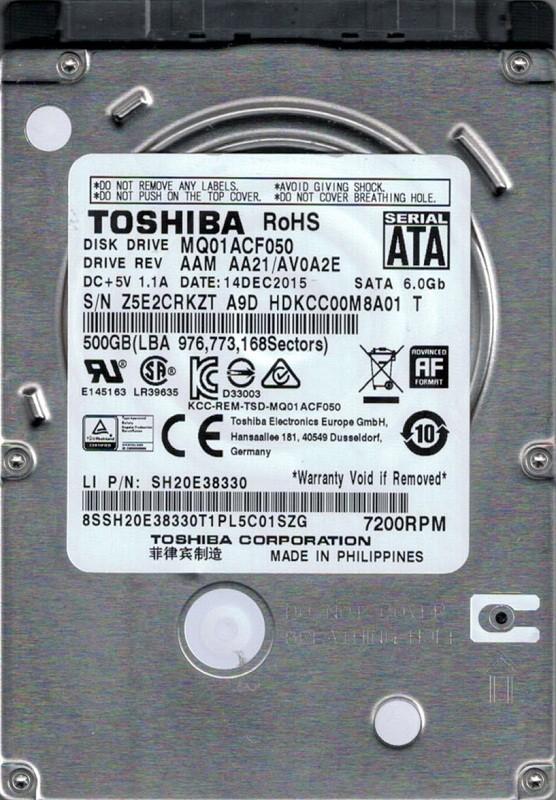 MQ01ACF050 AAM AA21/AV0A2E Toshiba 500GB