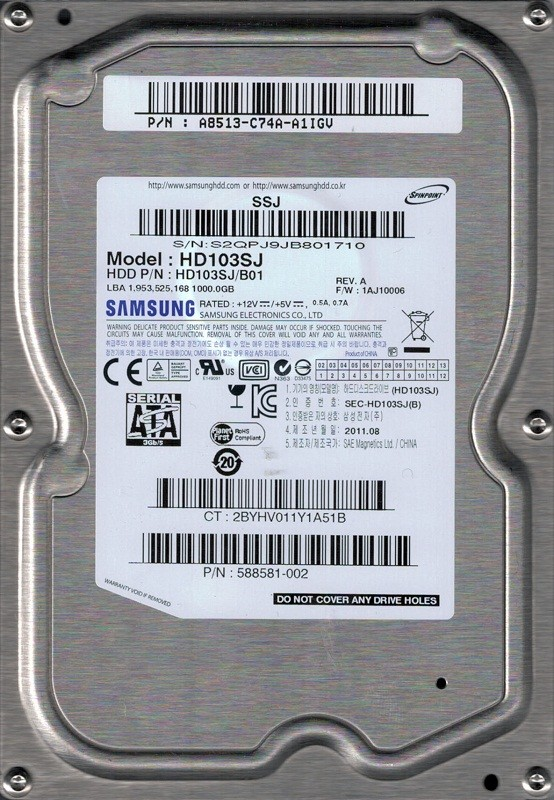 HD103SJ/B01 P/N: A8513-C74A-A1IGV F/W: 1AJ10006 Samsung 1TB