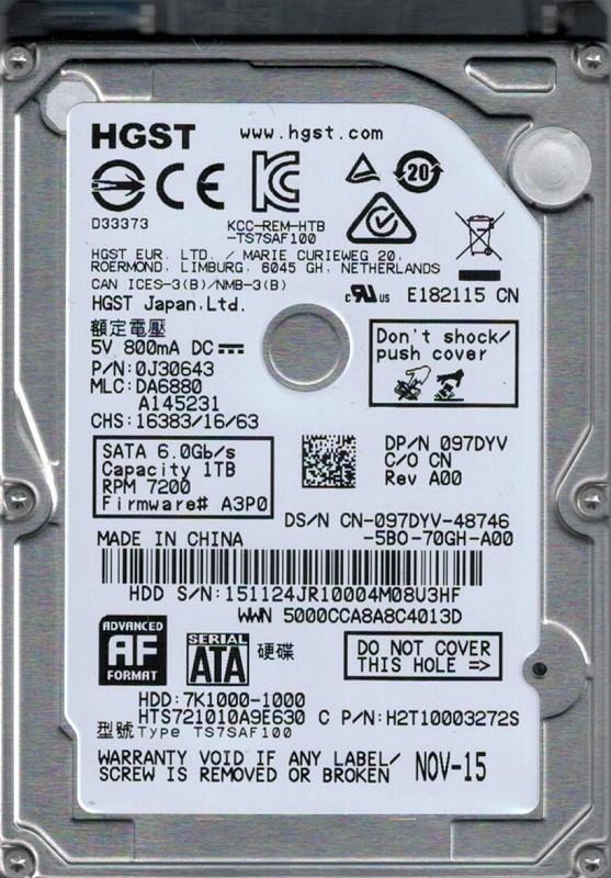HTS721010A9E630 P/N: 0J30643 MLC: DA6880 HGST 1TB