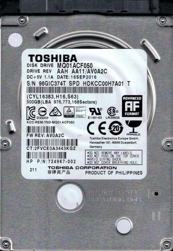MQ01ACF050 AAH AA11/AV0A2C Philippines Toshiba 500GB Laptop Hard Drive