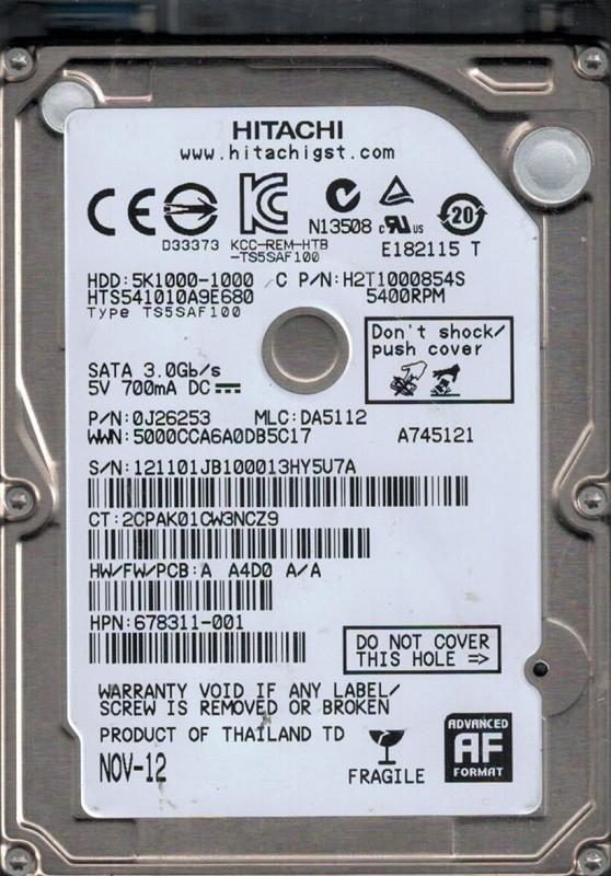 HTS541010A9E680 P/N: 0J26253 MLC: DA5112 Thailand Hitachi 1TB