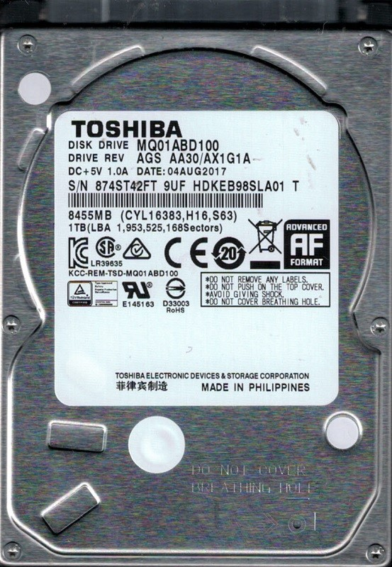 MQ01ABD100 AGS AA30/AX1G1A Toshiba 1TB