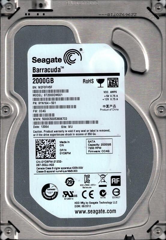 Seagate ST2000DM001 P/N: 9YN164-501 F/W: CC4G WU W2F 2TB