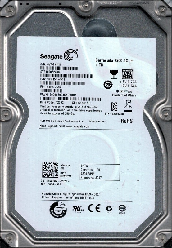 Seagate ST31000524AS P/N: 9YP154-519 F/W: JC47 1TB SU 6VP