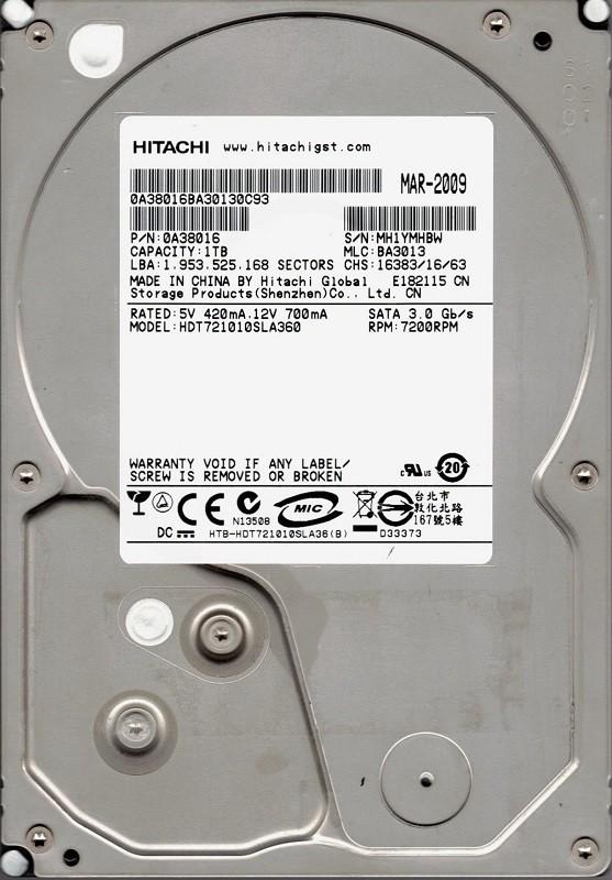 Hitachi HDT721010SLA360 P/N: 0A38016 MLC: BA3013 1TB