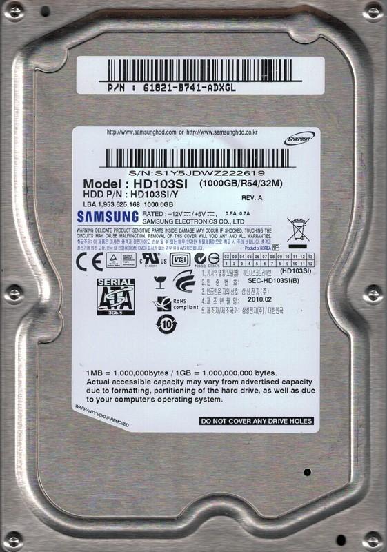 HD103SI/Y P/N: 61821-B741-ADXGL Korea Samsung 1TB