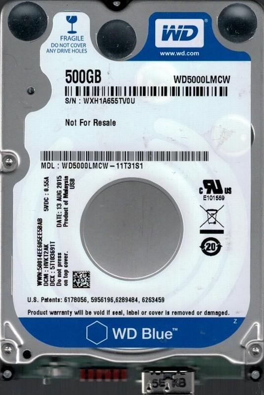 WD5000LMCW-11T31S1 DCM: HVKT2AK WXH1A Western Digital 500GB