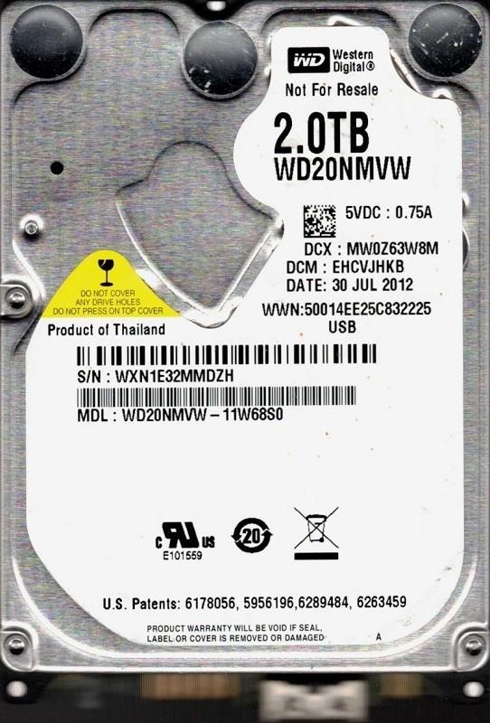 Western Digital WD20NMVW-11W68S0 USB 3.0 2TB DCM: EHCVJHKB