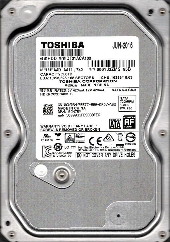 Toshiba DT01ACA100 AAD AA11/7S0 1TB China