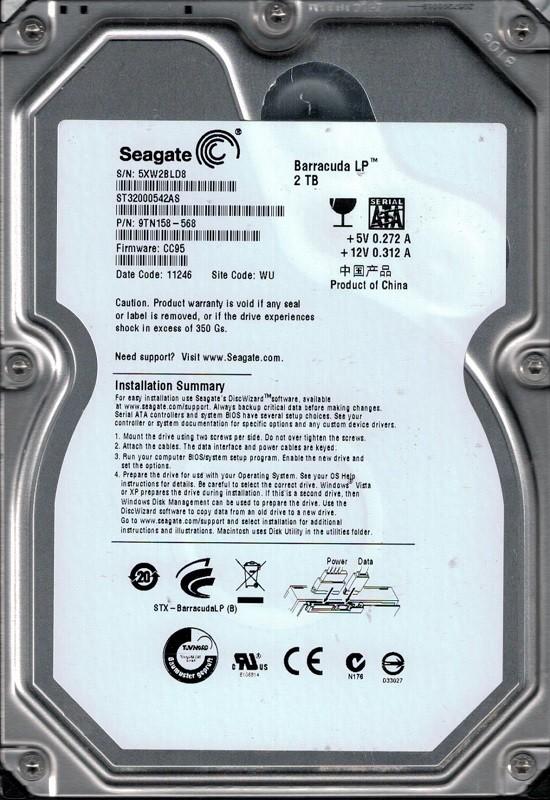 Seagate ST32000542AS P/N: 9TN158-568 F/W: CC95 2TB WU 5XW