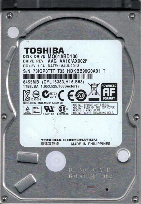 MQ01ABD100 AAG AA10/AX002F Philippines Toshiba 1TB