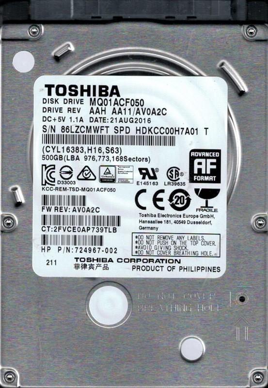 """MQ01ACF050 AAH AA11/AV0A2C Philippines Toshiba 500GB 2.5"""" Hard Drive"""