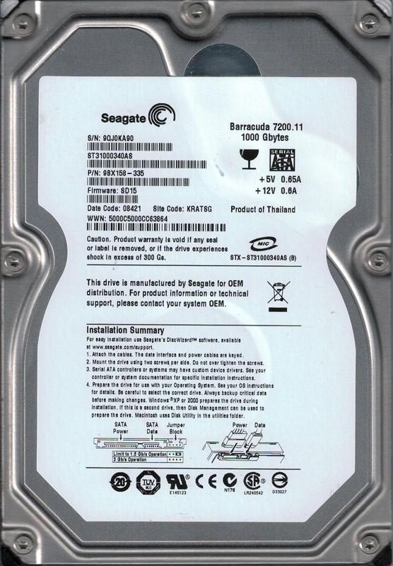 Seagate ST31000340AS F/W: SD15 P/N: 9BX158-335 1TB KRATSG
