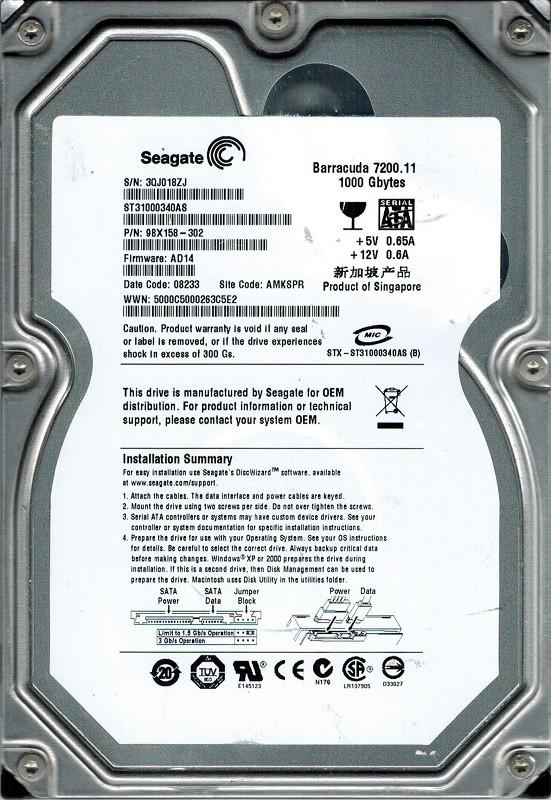 Seagate ST31000340AS P/N: 9BX158-302 F/W: AD14 1TB AMKSPR