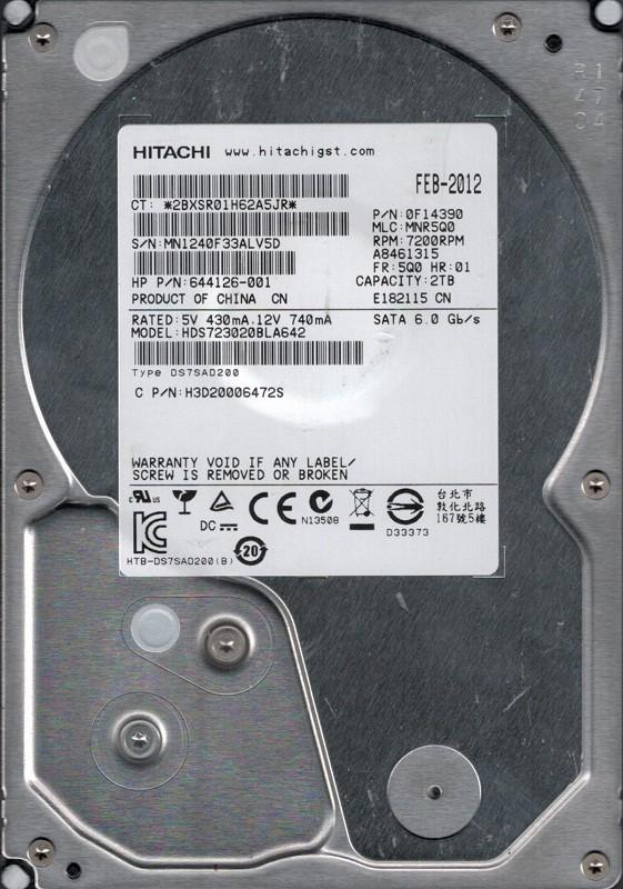 Hitachi HDS723020BLA642 P/N: 0F14390 MLC: MNR5Q0 2TB
