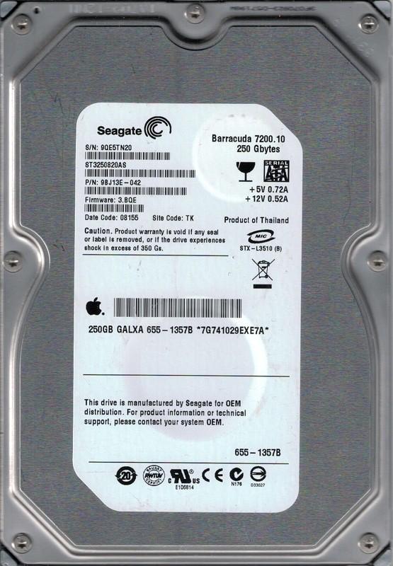 ST3250820AS P/N:9BJ13E-042 F/W: 3.BQE TK MAC 655-1357B Seagate 250GB