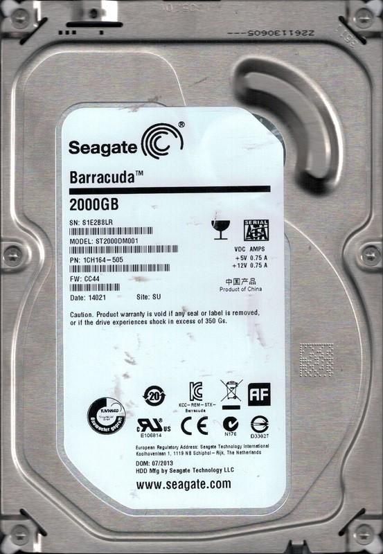 ST2000DM001 P/N: 1CH164-505 F/W: CC44 SU S1E Seagate 2TB