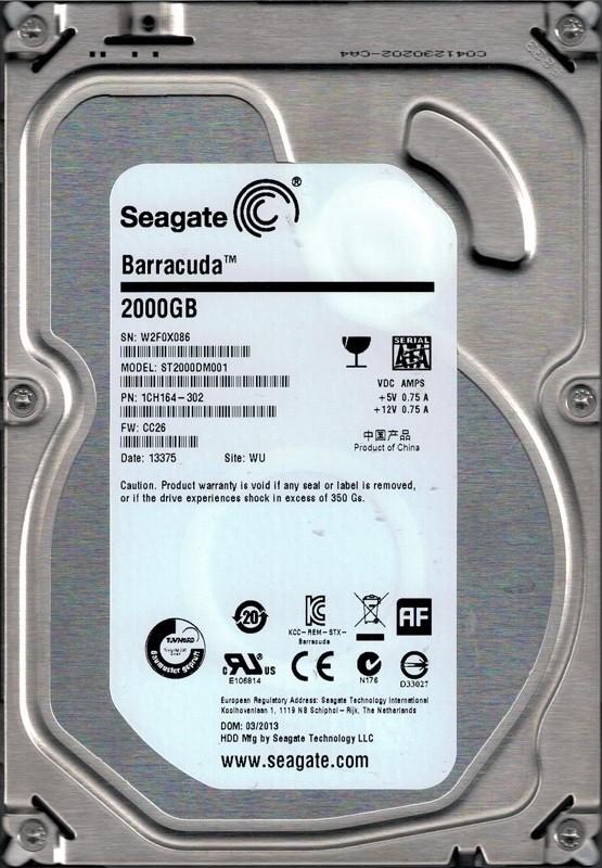 Seagate ST2000DM001 P/N: 1CH164-302 F/W: CC26 2TB WU W2F