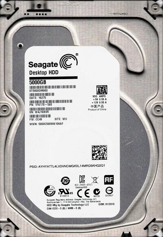 ST5000DM000 P/N: 1FK178-568 F/W: CC49 WU W4J Seagate 5TB