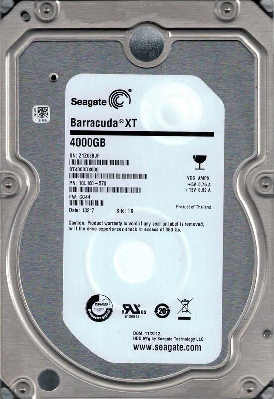 Seagate ST4000DX000 P/N: 1CL160-570 F/W: CC44 TK 4TB