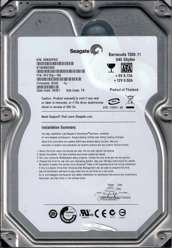 ST3640623AS P/N: 9FZ164-188 F/W: SD43 TK 9VK Seagate 640GB