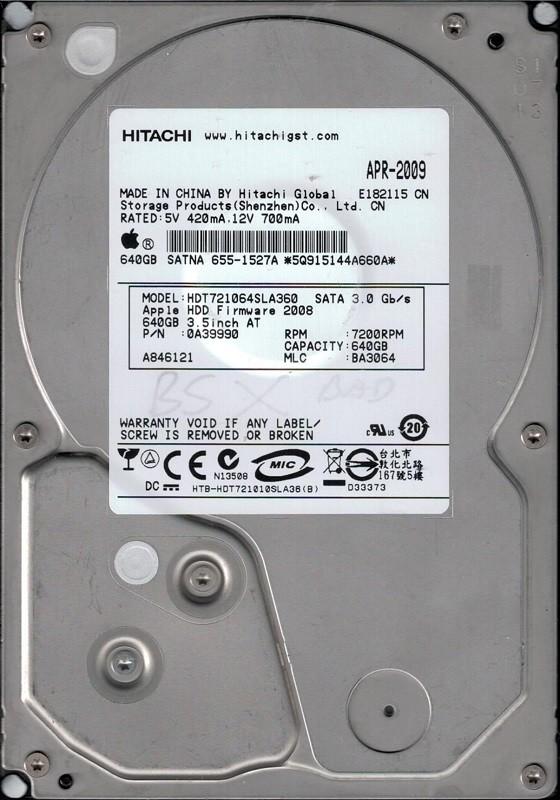 Hitachi HDT721064SLA360 P/N: 0A39990 MLC: BA3064 640GB MAC 655-1527A