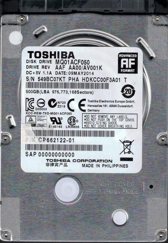 MQ01ACF050 AAF AA00/AV001K Toshiba 500GB Laptop Hard Drive