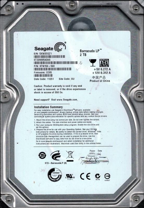 Seagate ST32000542AS P/N: 9TN158-568 F/W: CC95 2TB SU 5XW