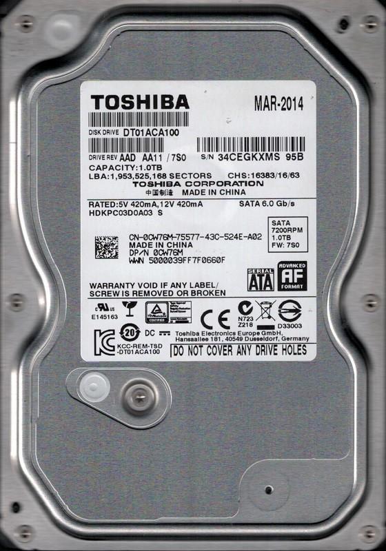 DT01ACA100 AAD AA11/7S0 Toshiba 1TB