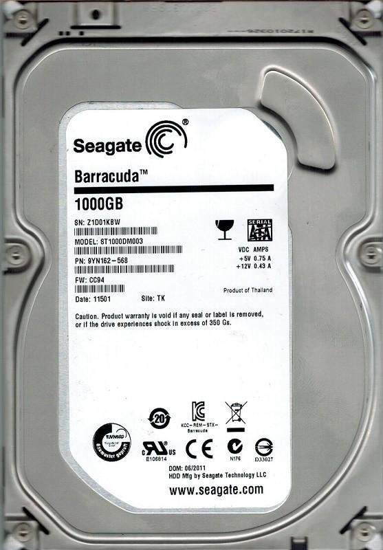 Seagate ST1000DM003 P/N: 9YN162-568 F/W: CC94 TK 2TB