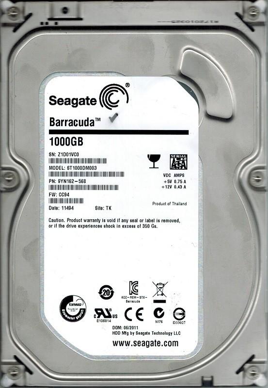Seagate ST1000DM003 F/W: CC94 P/N: 9YN162-568 2TB TK