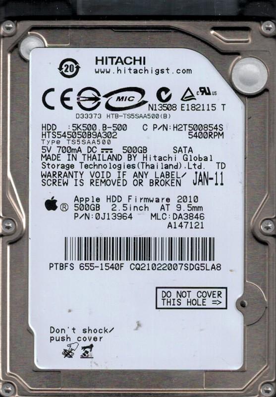 Hitachi HTS545050B9A302 MAC 655-1540F P/N: 0J13964 MLC: DA3846 500GB