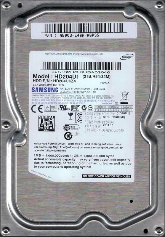 HD204UI/Z4 P/N: A8003-E46A-A6PS5 Samsung 2TB