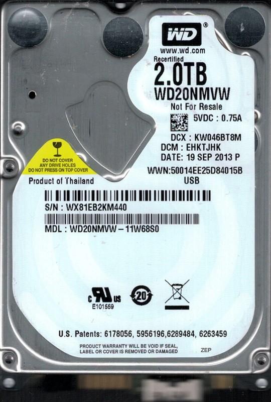 Western Digital WD20NMVW-11W68S0 USB 3.0 2TB DCM: EHKTJHK