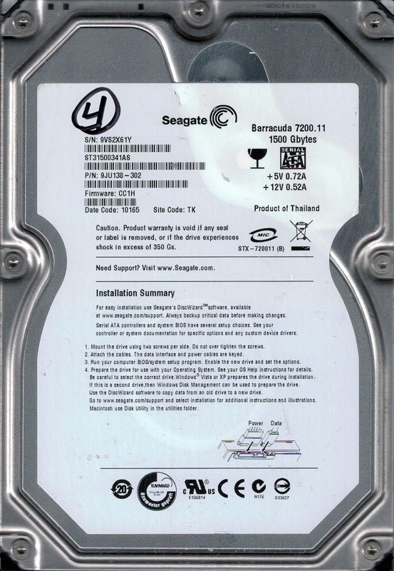 Seagate ST31500341AS F/W: CC1H P/N: 9JU138-302 TK 9VS 1.5TB Barracuda 7200.11
