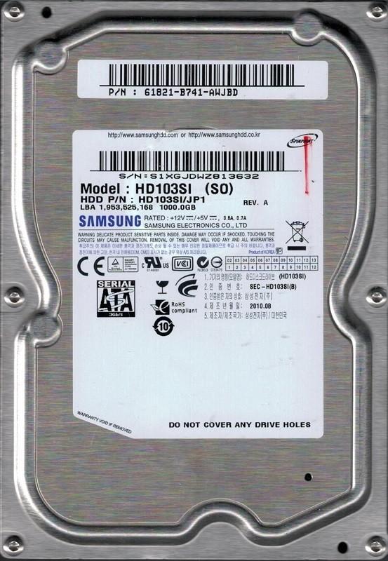 Samsung HD103SI/JP1 SPINPOINT 1TB P/N: 61821-B741-AWJBD