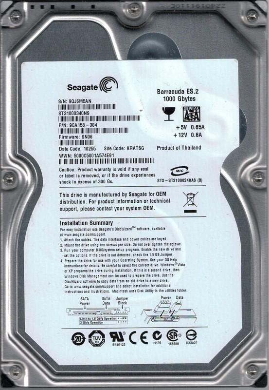 ST31000340NS P/N: 9CA158-304 F/W: SN06 KRATSG 9QJ Seagate 1TB